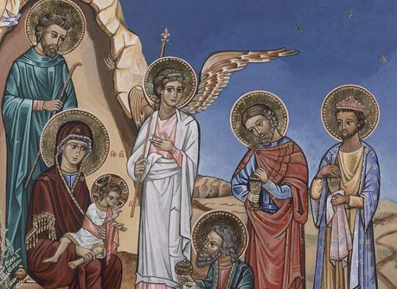 Pokłon trzech króli przedstawiony na ikonie.