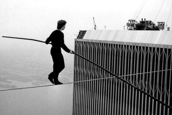 Jean-François Blondeau, Philippe Petit Walking a Tightrope Between the World Trade Center Towers, 1974