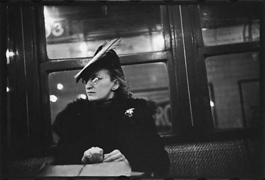 Walker Evans, Subway Passenger, New York City: Woman in Feathered Cap, 1941