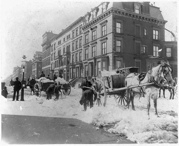 Odsniezanie w 1896 r. Fot. Library of Congress / Via loc.gov