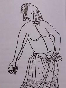 Przebieg poludnika serca wg starochińskiego atlasu Shih Ssu Ching Fa Hui z 1341r.