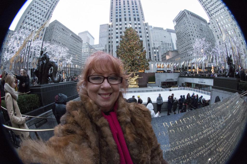 Selfie na Rockefeller Plaza w Nowym Jorku